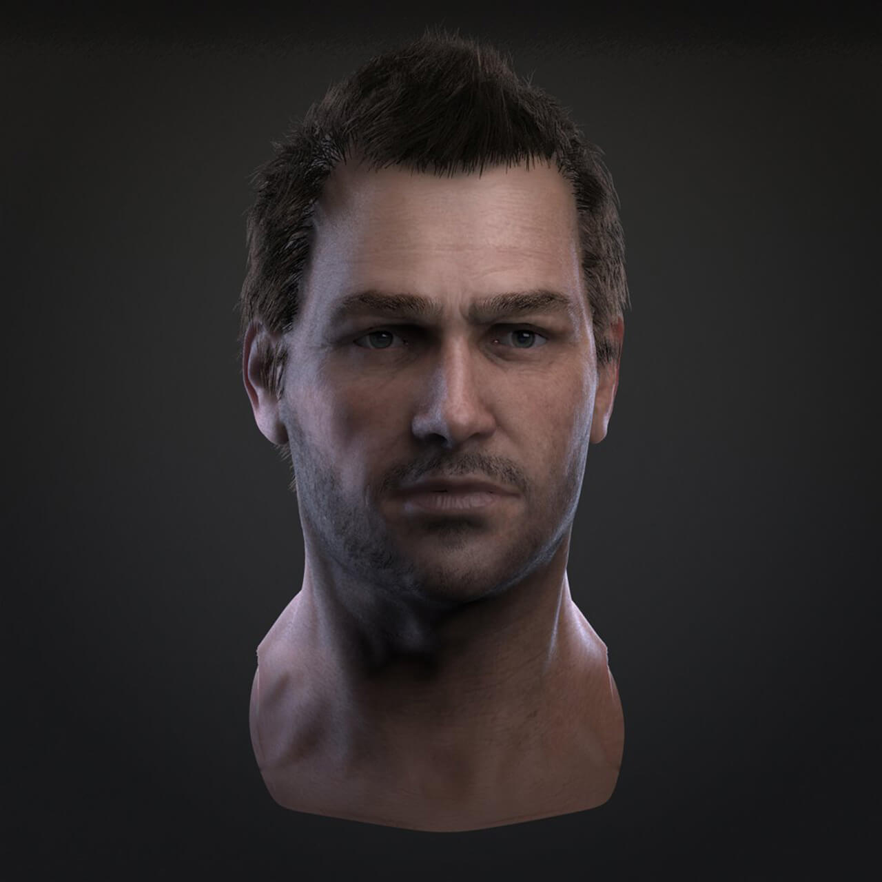 computer generated render of mans head