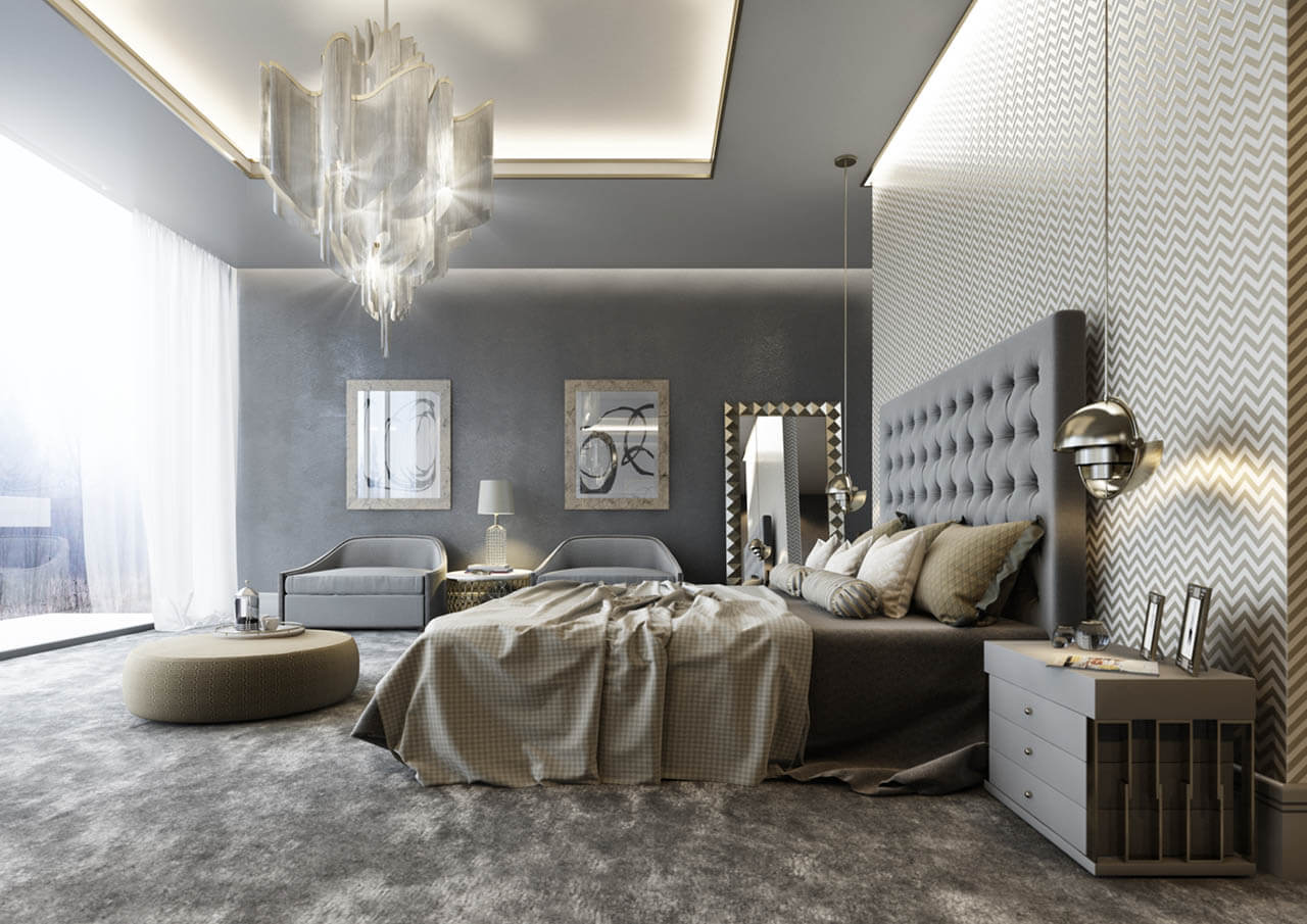 Rendered Bedroom in contemporary style