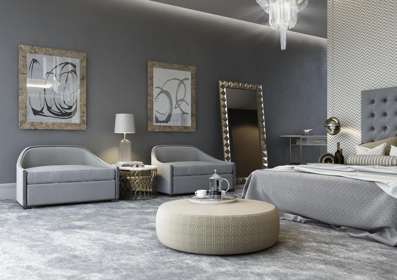 Contemporary Grey Bedroom Interior Render