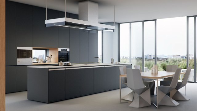 Modern Kitchen 3D Rendering