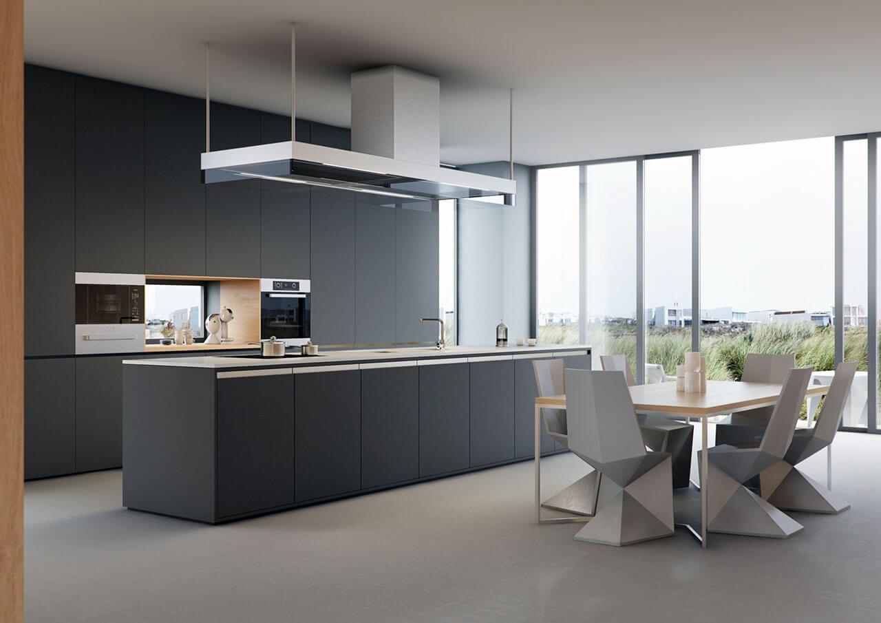Modern Kitchen 3D Rendering