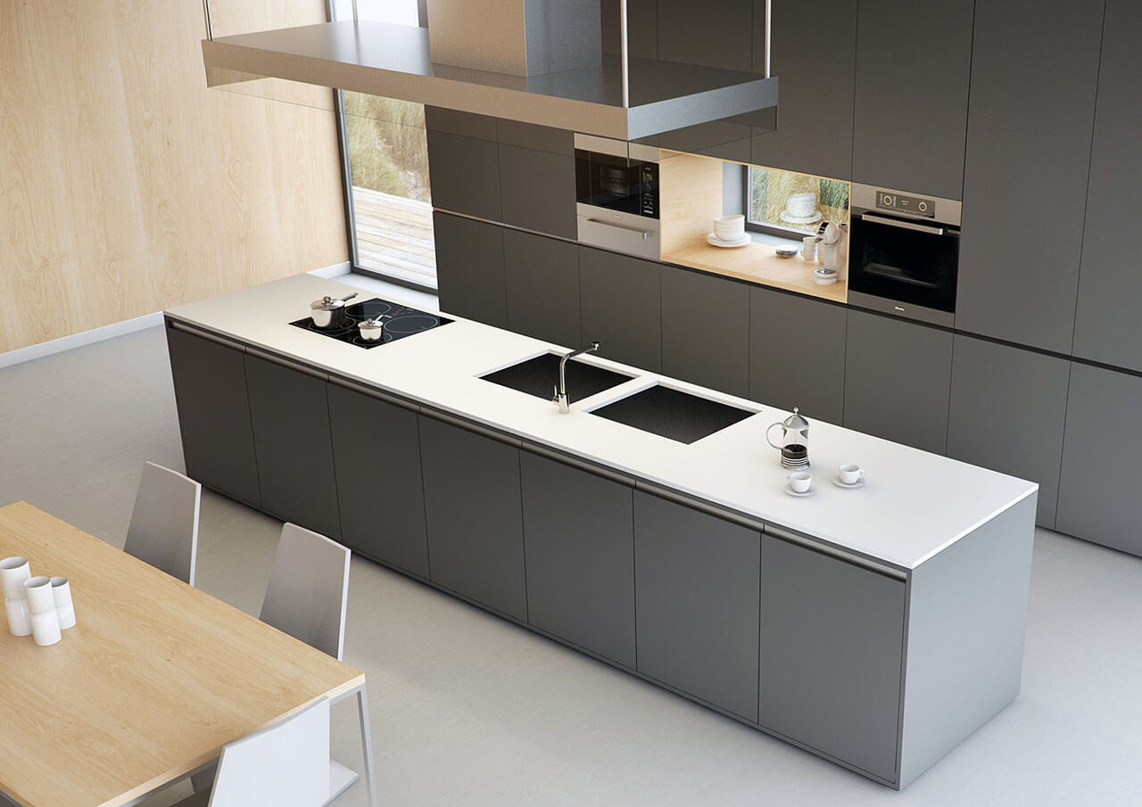 Interior Kitchen Render Of Modern Design from high angle