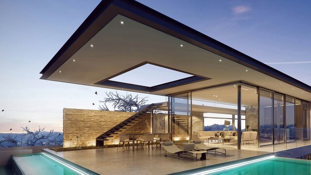 3D Render Futuristic Pool House