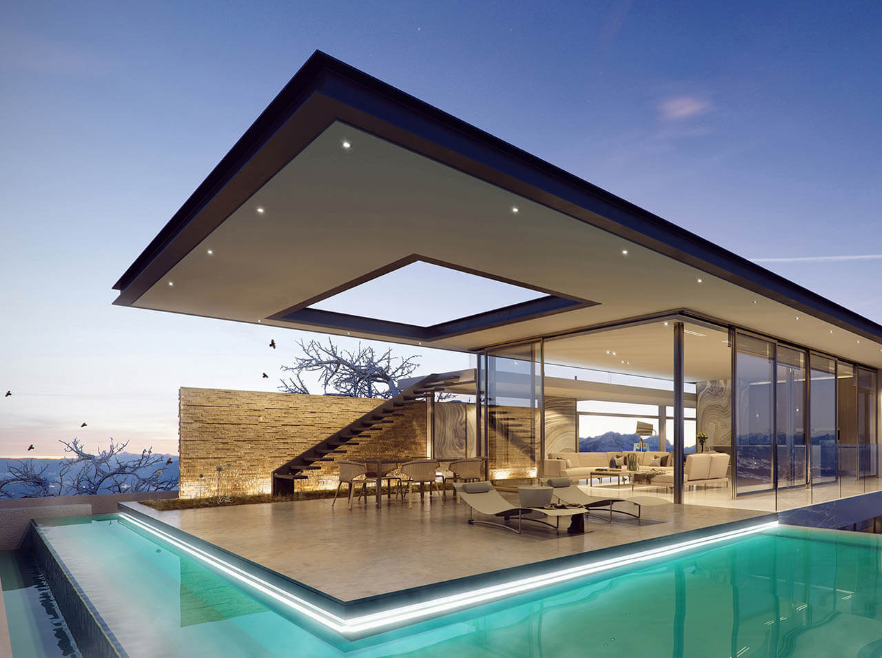 3D Render Futuristic Pool House