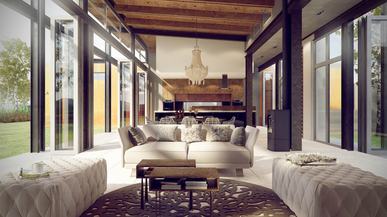 Render Of Contemporary Living Space With Classic Furniture