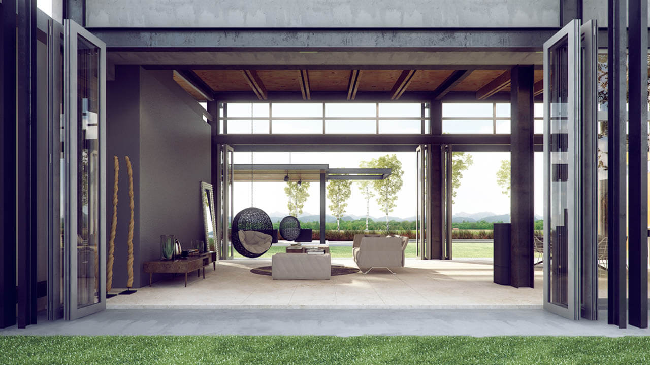 Architectural Render of Contemporary Interior Utilising Outside Space