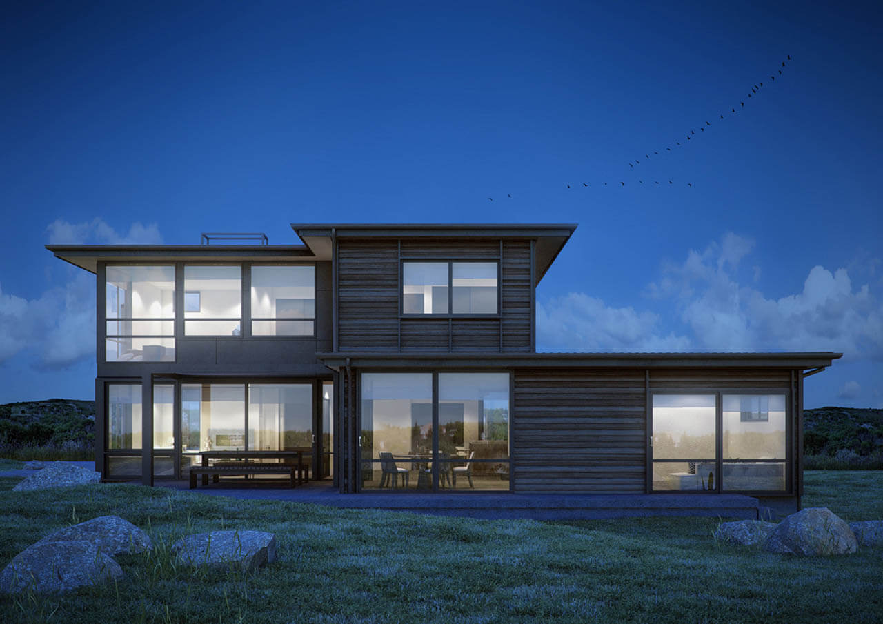 Architectural Render Of Modern House At Night Time