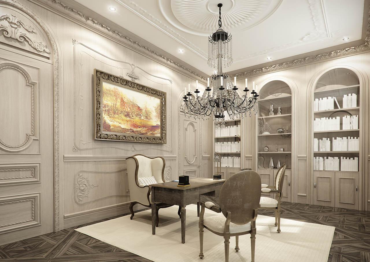 Intricate Interior Render Of Study