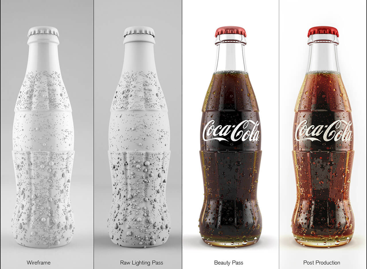 the 4 steps in rendering a coca-cola bottle