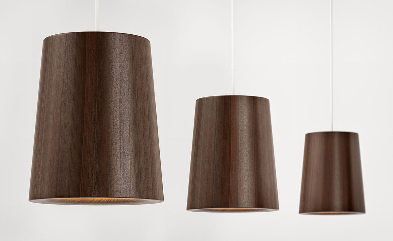 Product visualisation of three brown lampshades