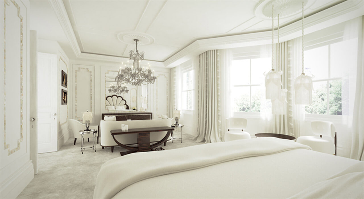 Elegant interior bedroom render