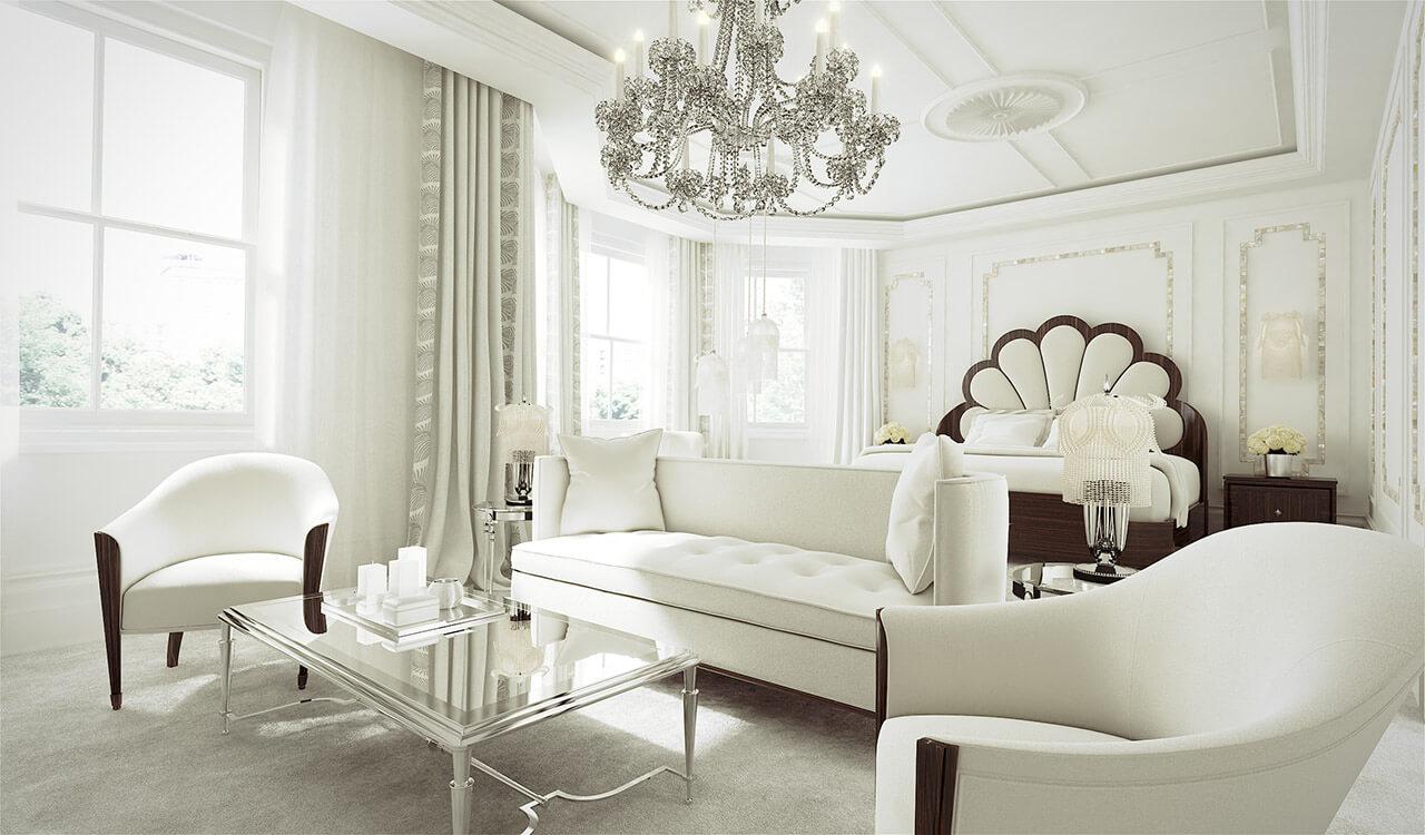 Classic whitel Interior Bedroom Render