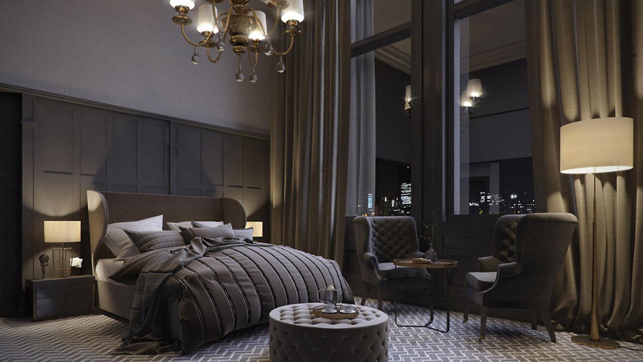 Modern dark bedroom interior render