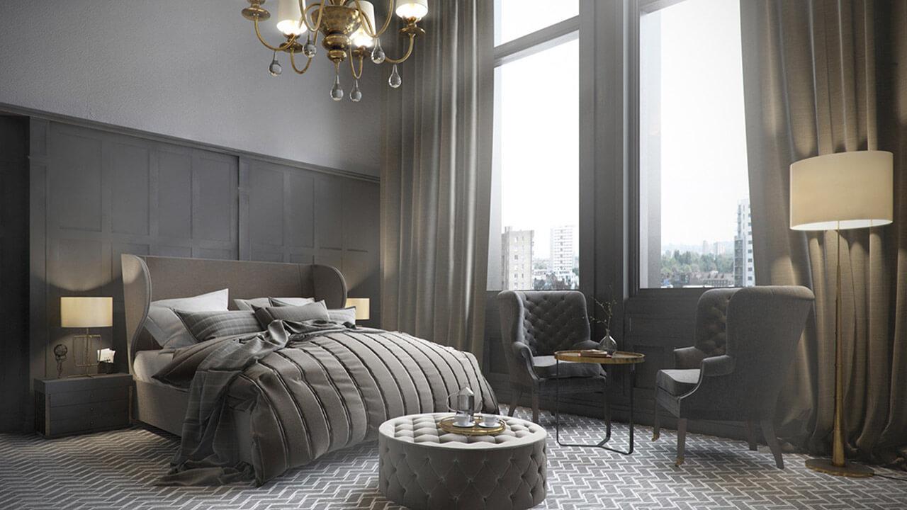 Classic Interior Bedroom Render