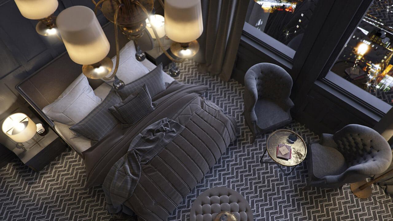 Looking Down on Classic bedroom interior render