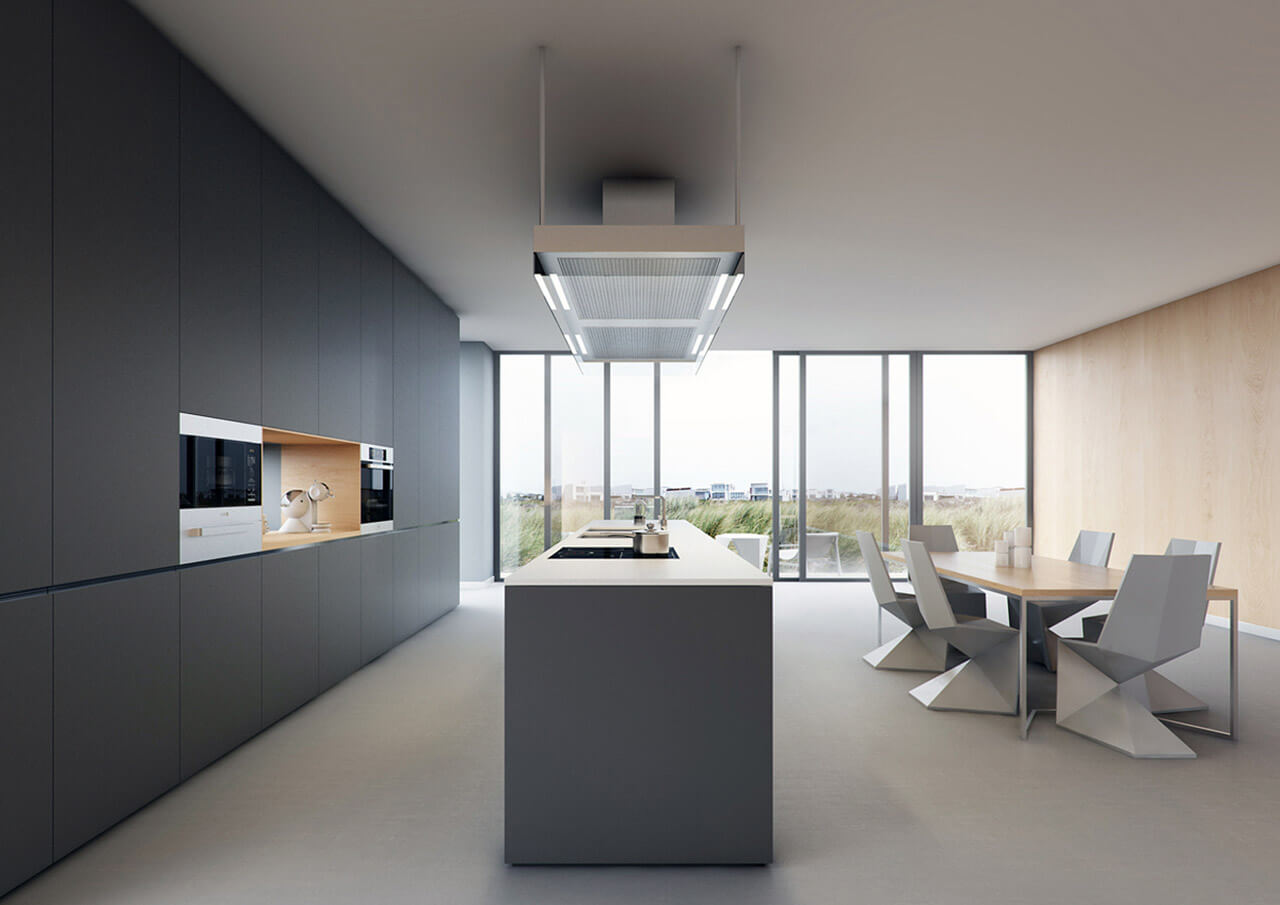 Interior render of contemporary Kitchen and Dining area with full height sliding doors