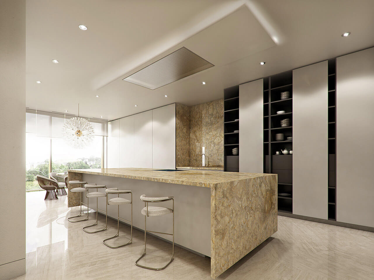 A contemporary light kitchen with marble finish and inset spotlighting
