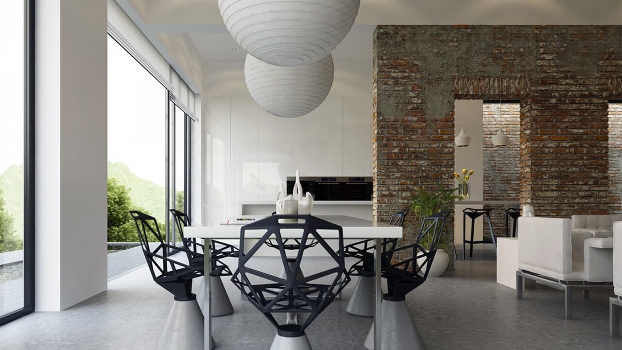 Contemporary open plan kitchen and dining area with full length glass doors and exposed brick opening