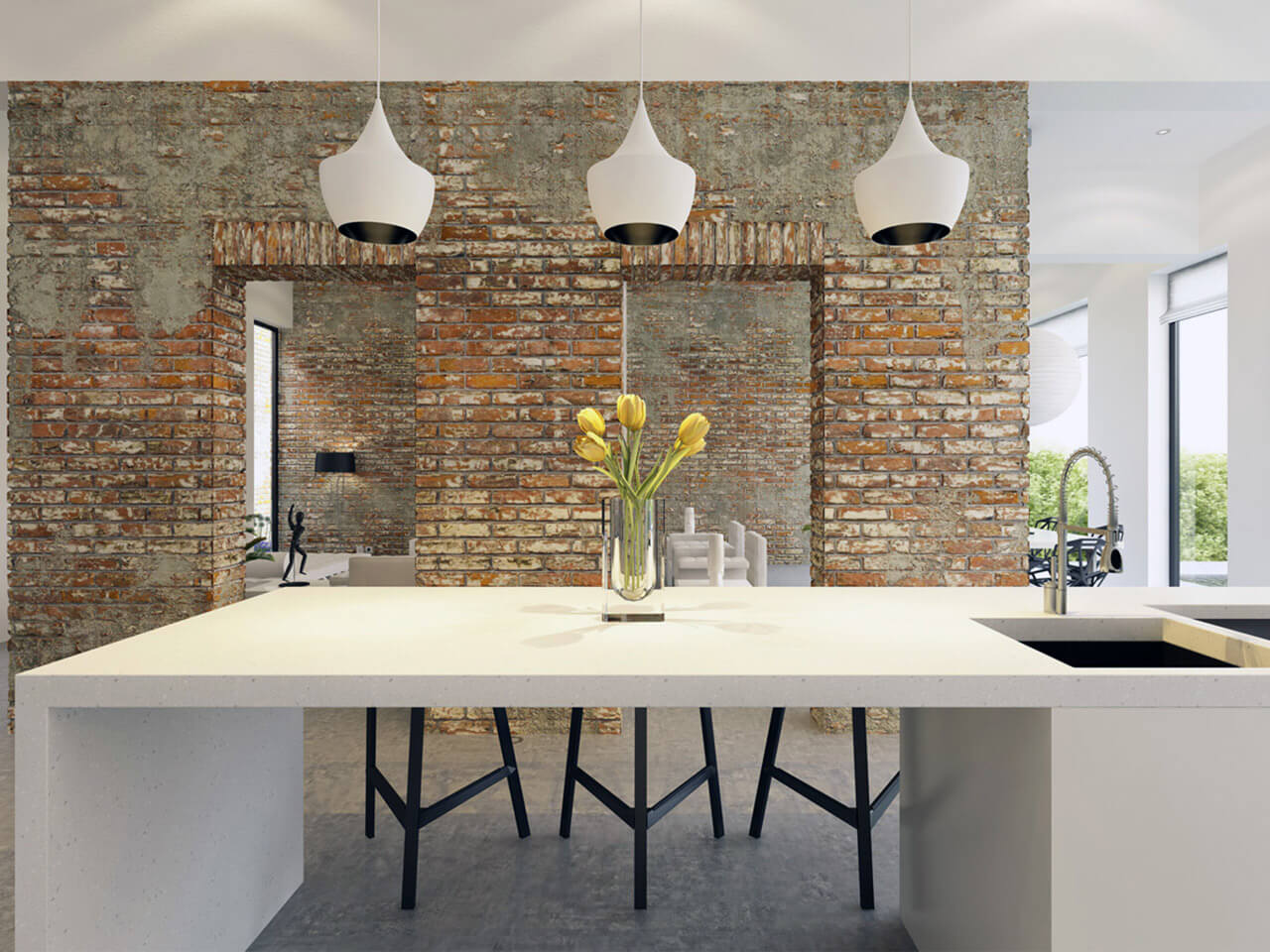 Modern Kitchen With Exposed Brick Walling