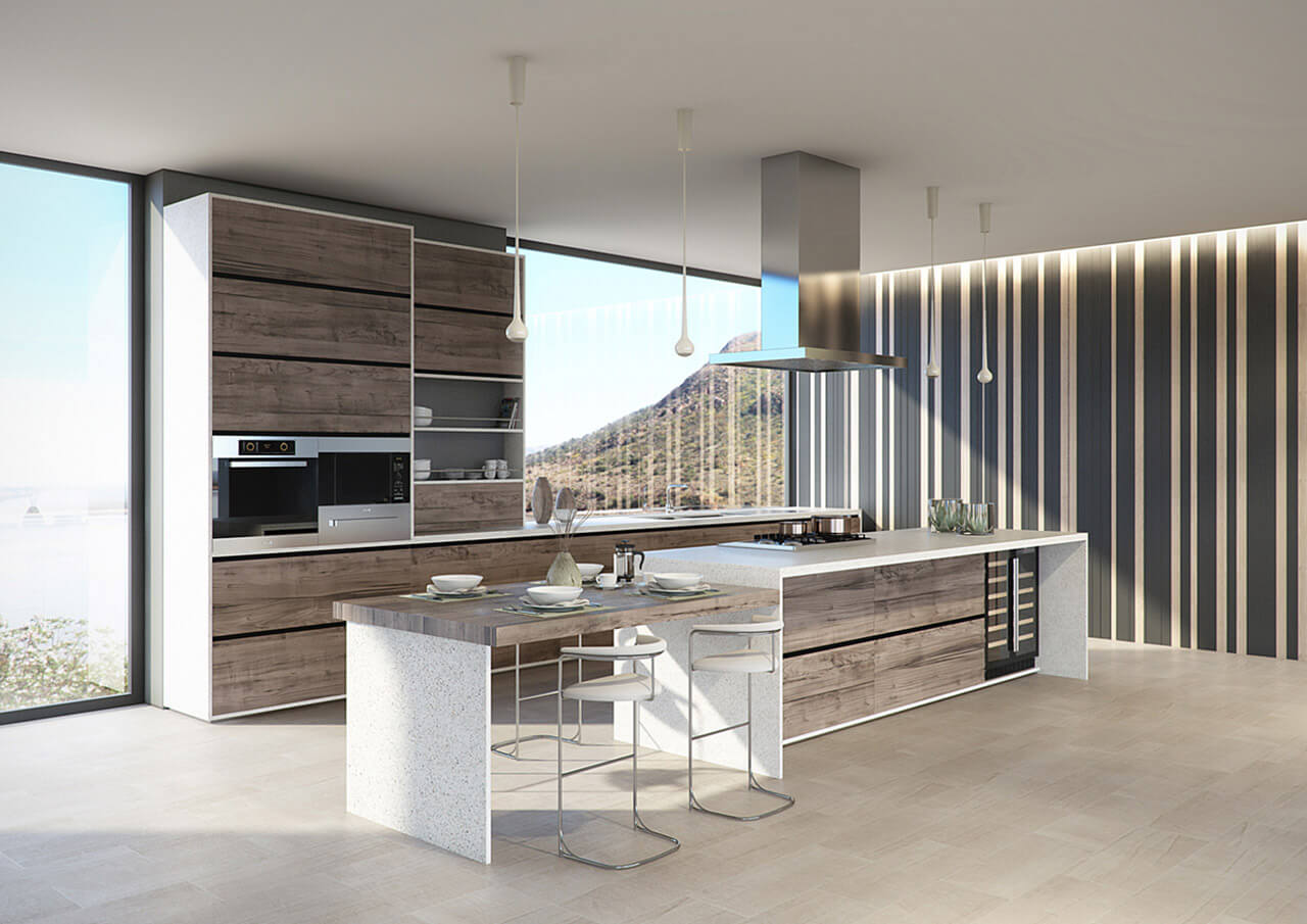A contemporary kitchen with stripe wallpaper and views