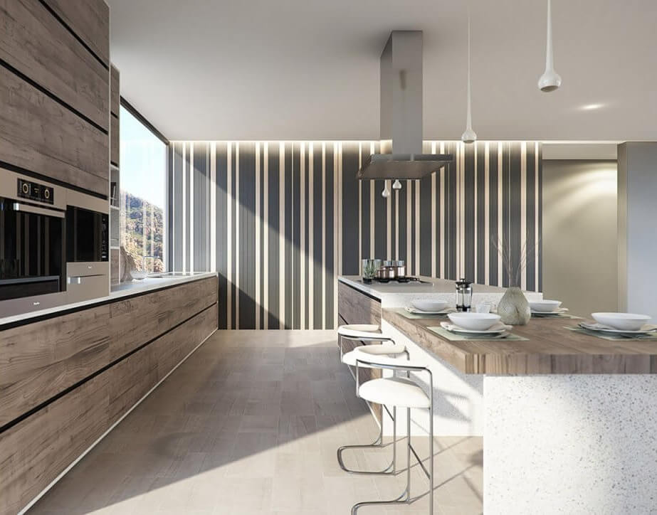 Stylish Kitchen Interior With Feature Striped Wall