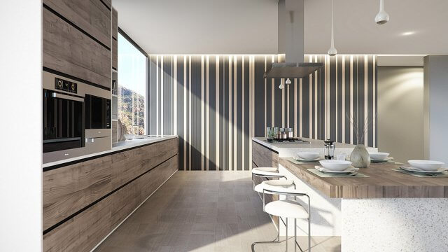 Modern interior kitchen render with contemporary wood finish units and breakfast bar