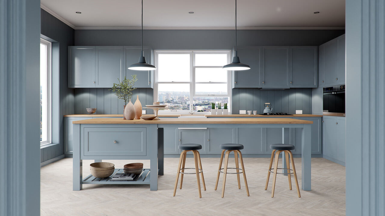 Interior render of blue country style kitchen with breakfast bar