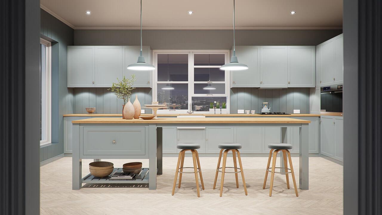 Modern Country Style Kitchen Render set in evening