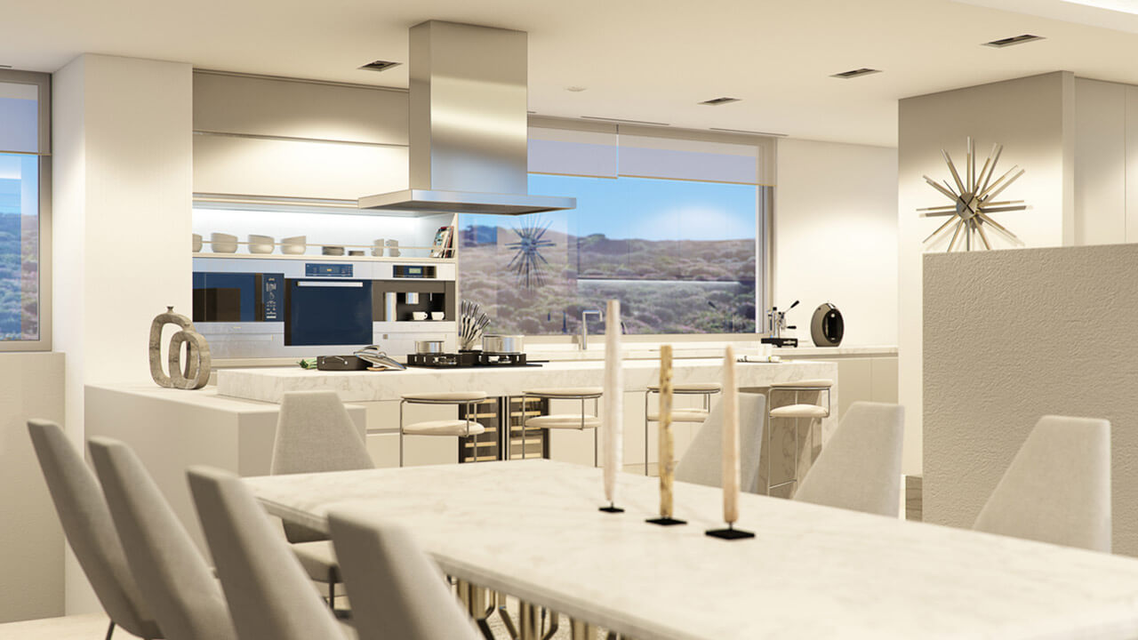 Contemporary White Interior Kitchen and Dining Area