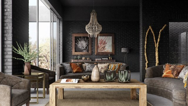 Rustic interior living room render