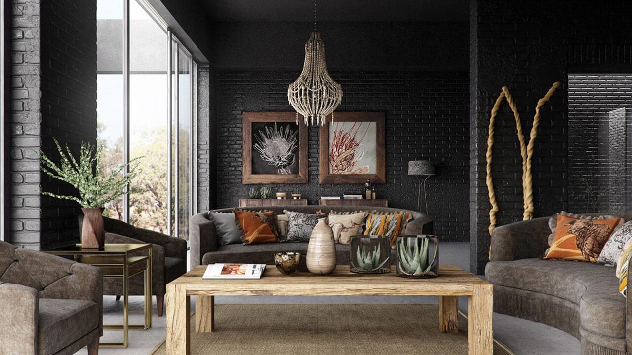 Rustic interior living room render