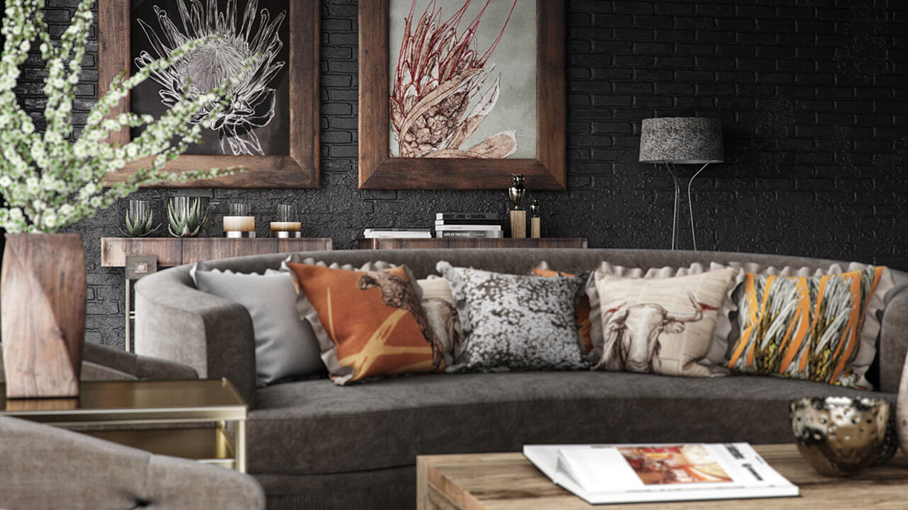 Close Up Of Rustic Interior Living Room Render