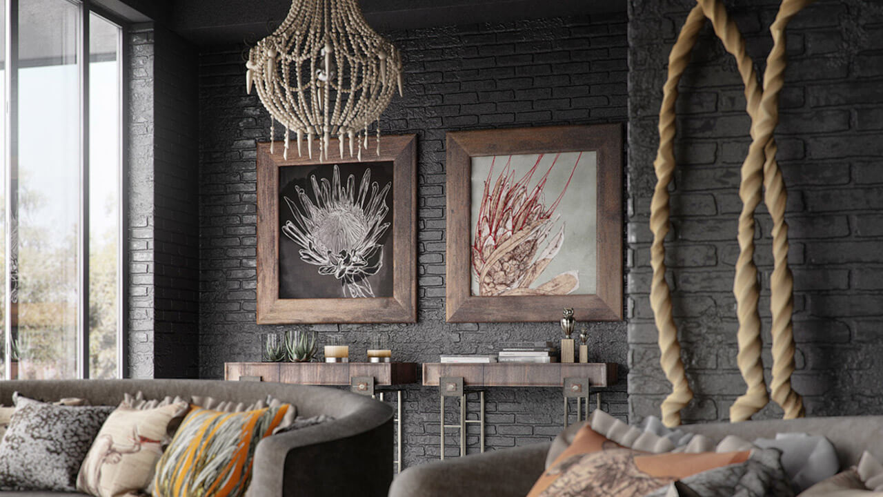 Interior render of rustic style living room with exposed walling