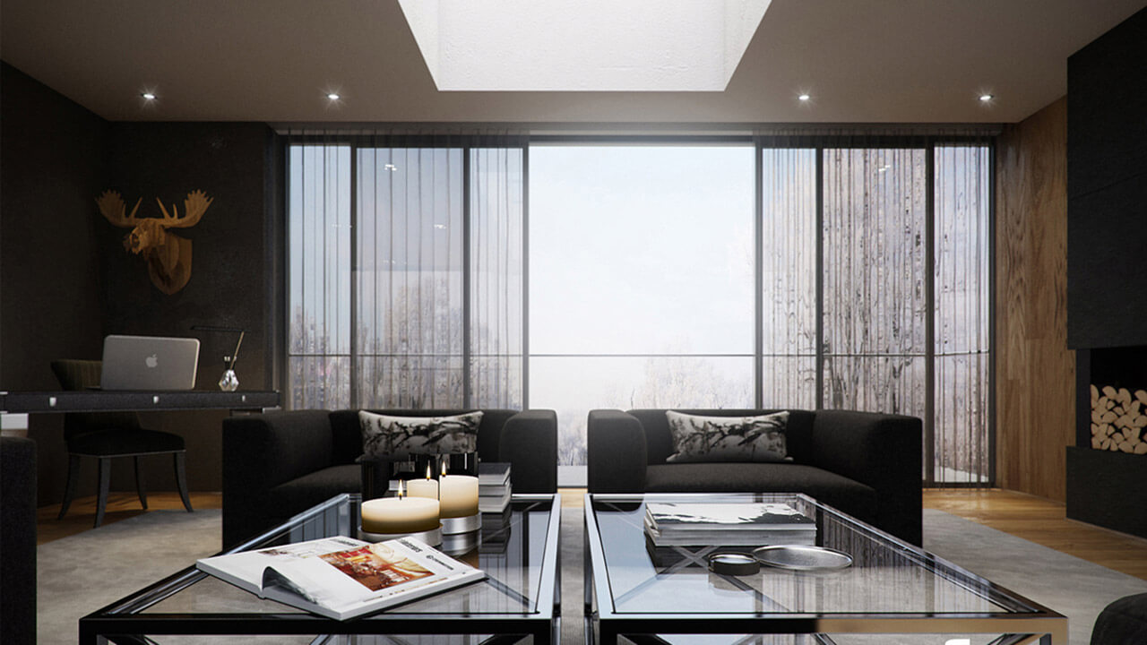 contemporary living room with full height windows