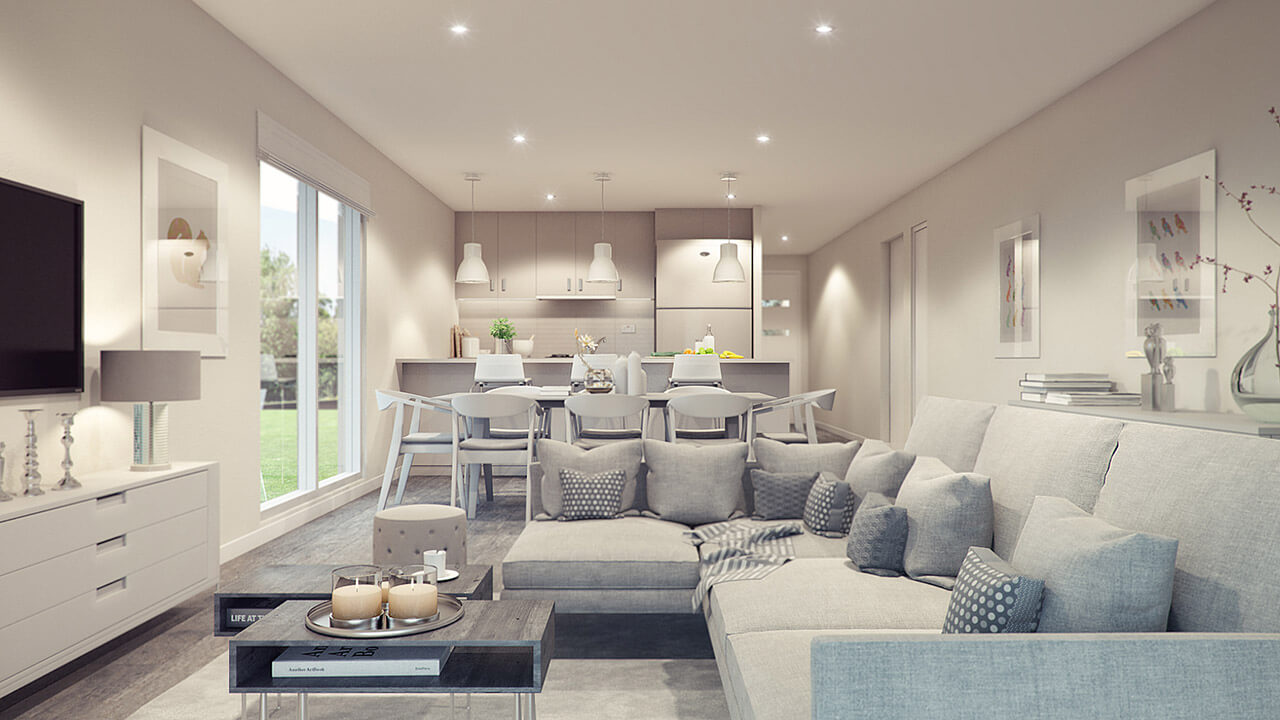 contemporary living room with grey theme and corner sofa