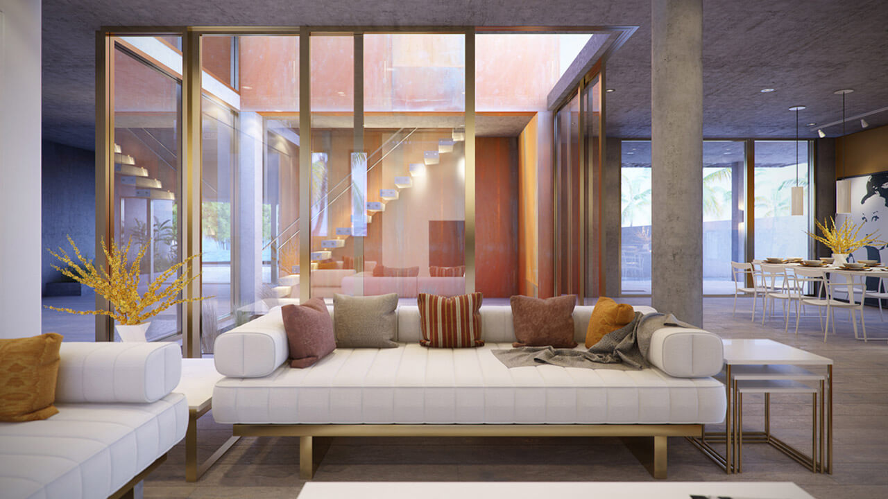 Modern open plan living room with seating and dining area and feature staircase