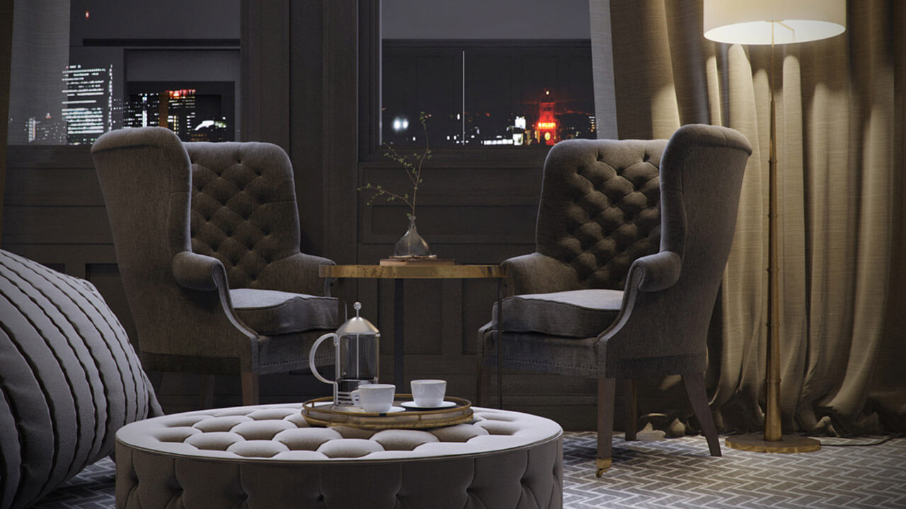 Interior render of seating area with padded high back chairs