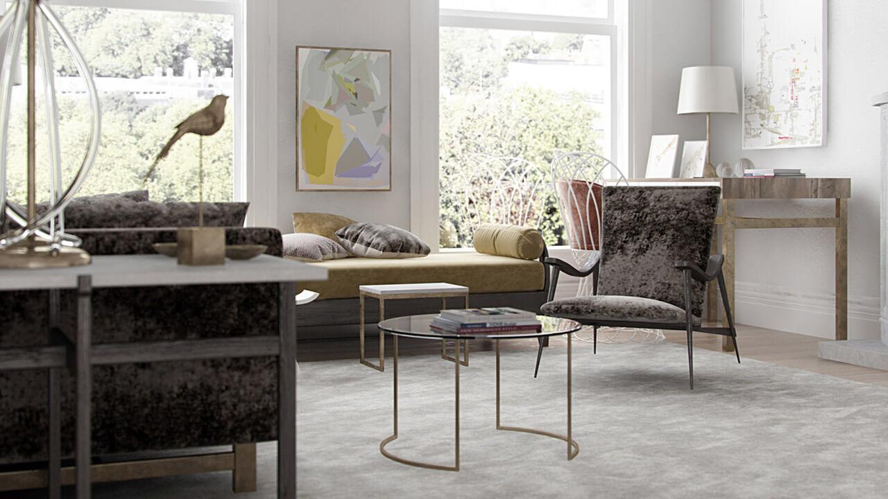 Light and airy interior living room render overlooking garden