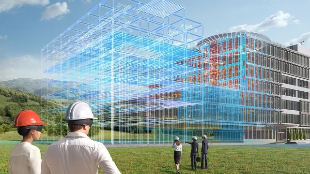 3D Image of architects viewing BIMS visualisation of building development