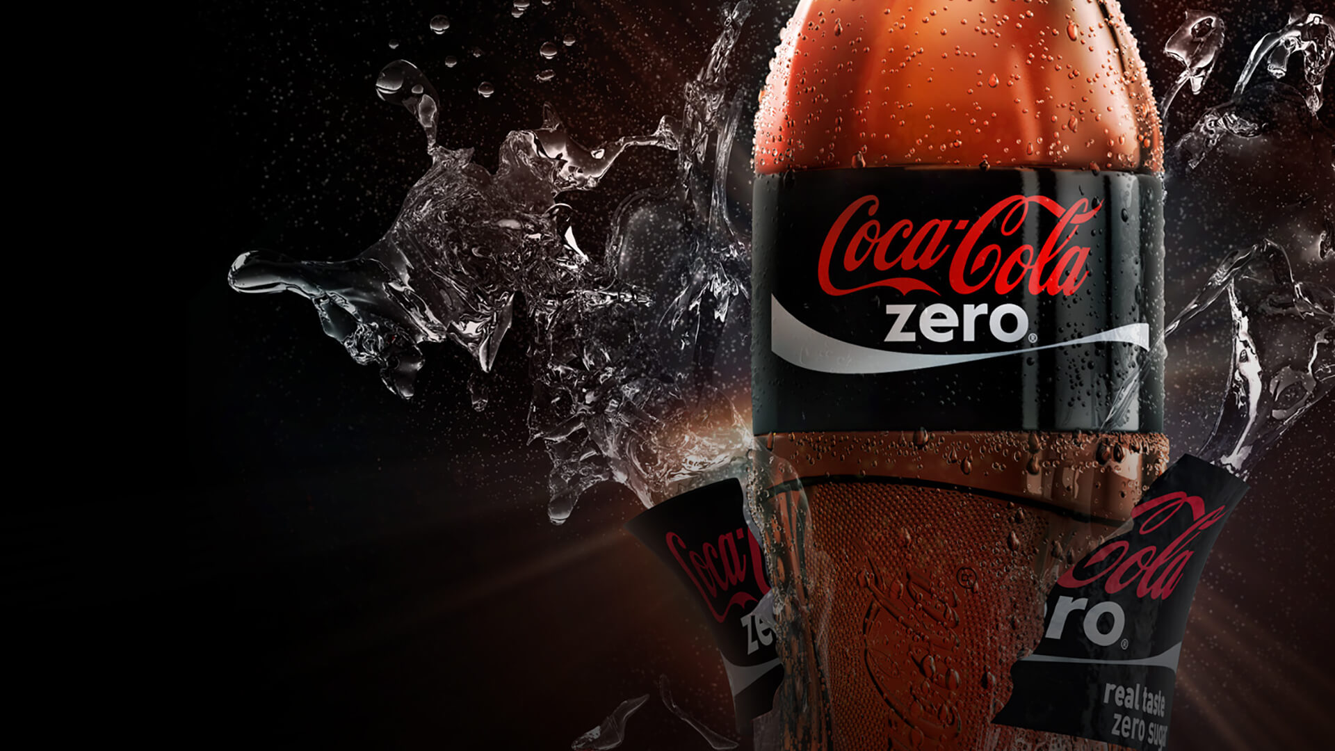 Computer generated image of coca-cola bottle exploding
