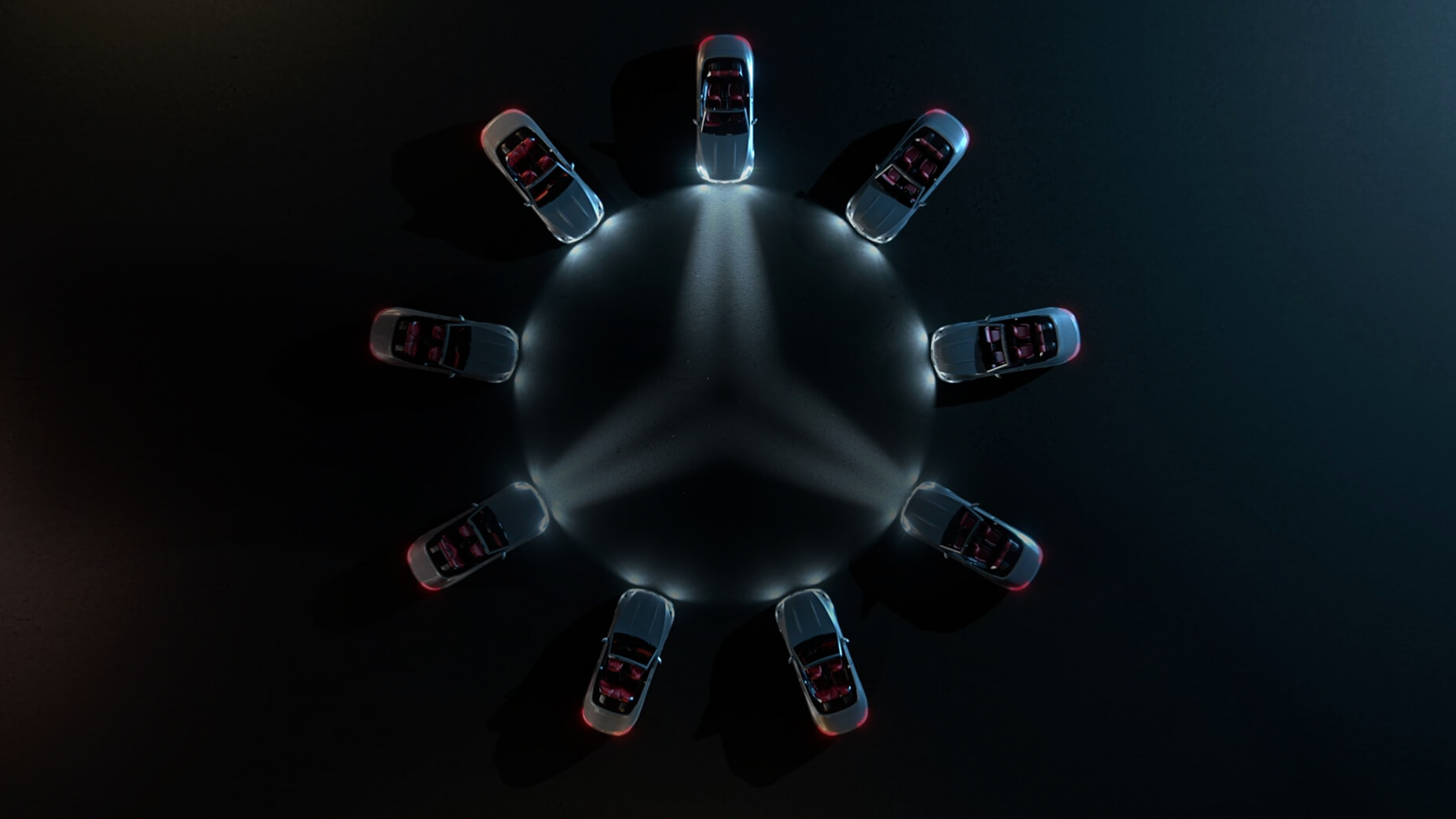 CGI Car visualisation of Mercedes Cars situated in a circle shining the Mercedes logo with their lights