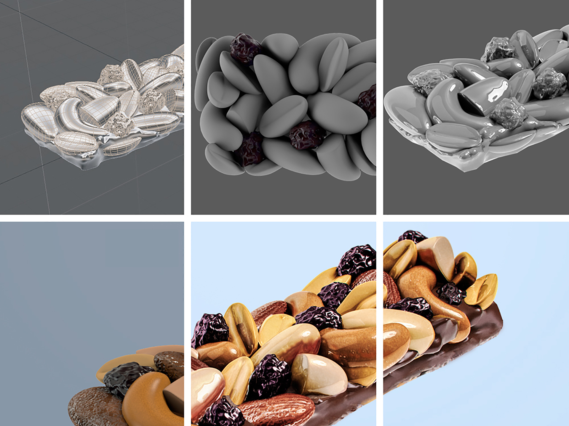 cg illustrated 3d chocolate biscuits and fruit bars 3d rendered in corona, very