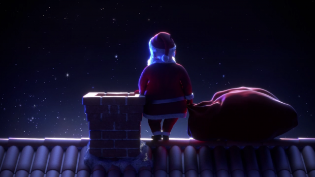 Father Christmas On Roof
